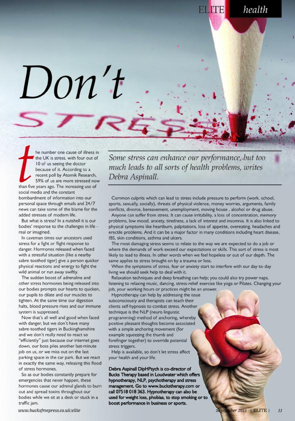 Stress article Elite Magazine